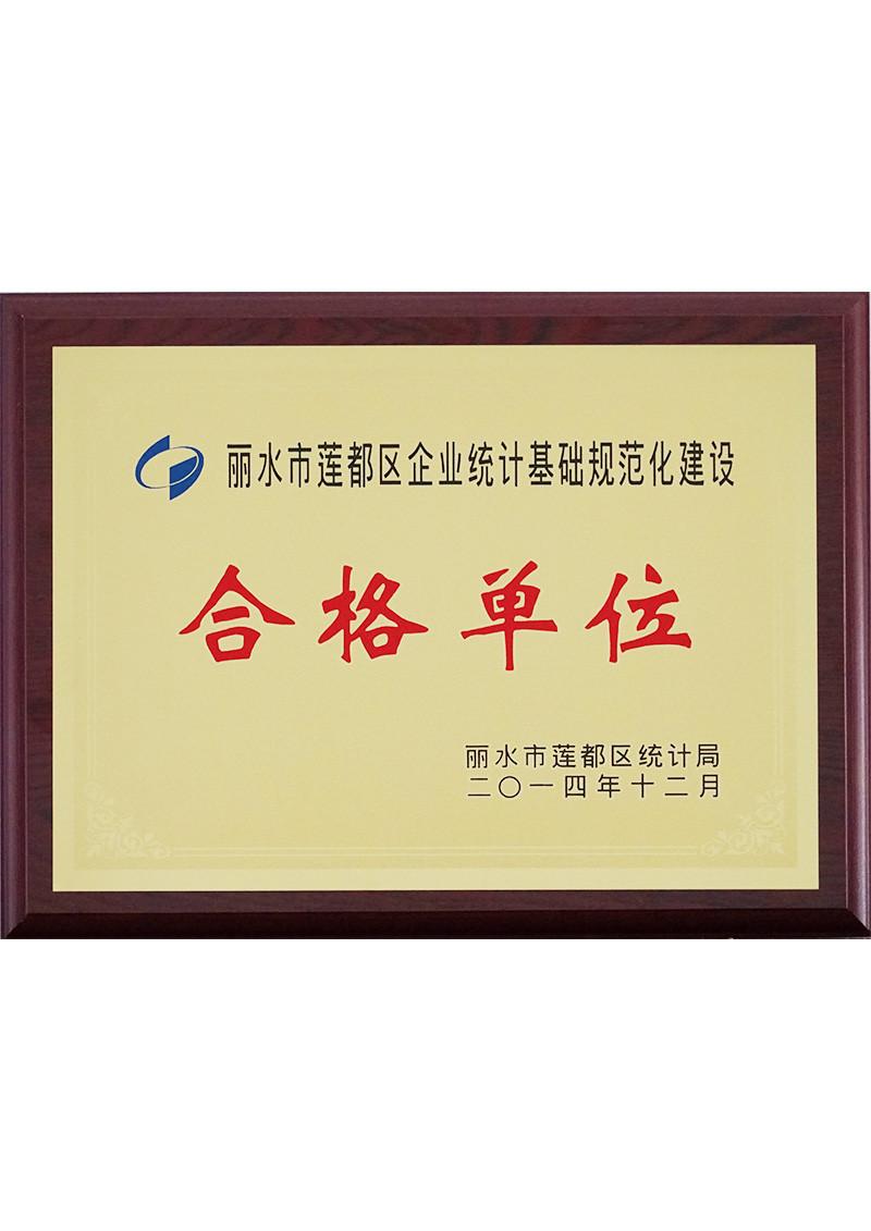 2014年丽水市莲都区企业统计基础规范化建设合格单位